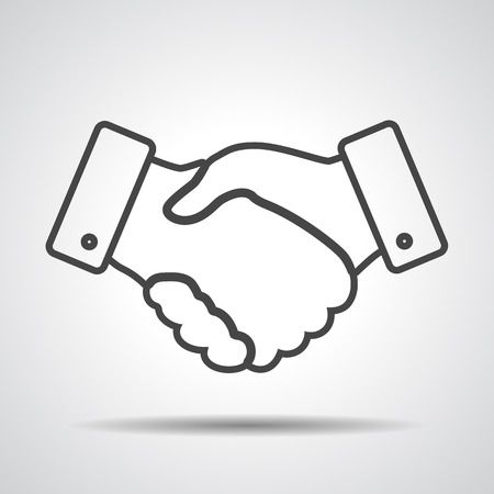 business hand shake: handshake thin line design icon - vector illustration