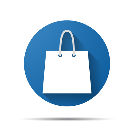 blue flat shopping bag icon