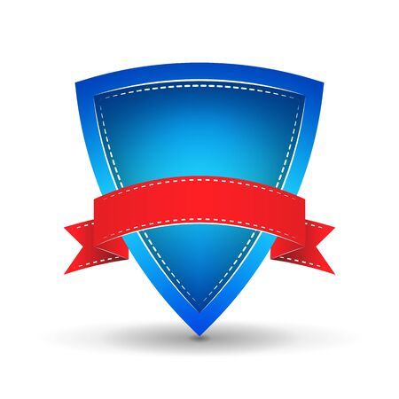 blue shield with red ribbon on a white background Vector