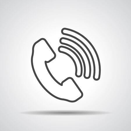 Telephone receiver icon - thin line art design Vector