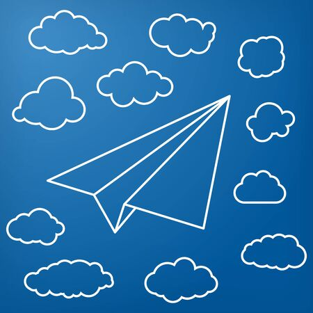 paper airplane: White linear paper airplane with clouds on a blue background