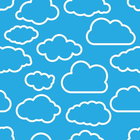 blue seamless illustration pattern of linear clouds wallpaper Vector