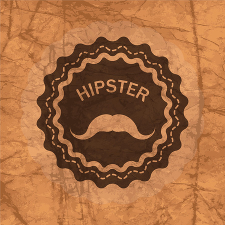 chaplin: hipsters badge on the brown crumbled textured paper background