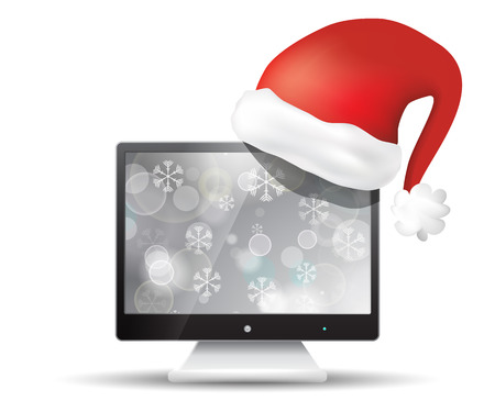 screen tv: Flat screen tv with santa claus hat isolated on white background