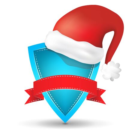 blue shield with red ribbon and Santas red hat on a  white background Vector