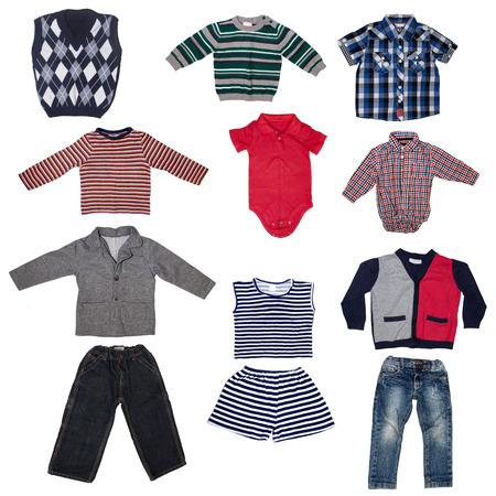 Fashion modern male baby clothes.Collage set of boy kid wear photo