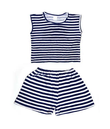 childrens wear: Childrens wear - striped shirt and shorts isolated over white background Stock Photo