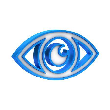 Blue plastic Eye icon photo