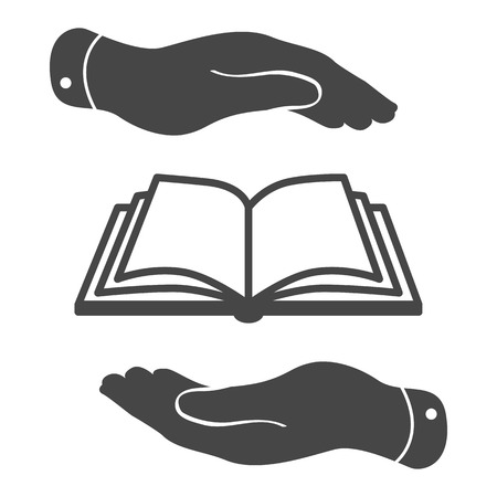 protection of the bible: book icon in flat hands - vector illustration