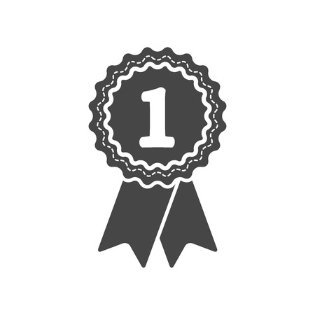 award badge: first place award badge with ribbons icon - vector illustration