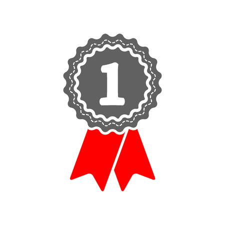 qualify: first place award badge with red ribbons icon - vector illustration Illustration