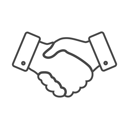 trust people: handshake thin line design icon - vector illustration