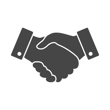 black handshake: black Handshake vector icon. design for business and finance concept Illustration