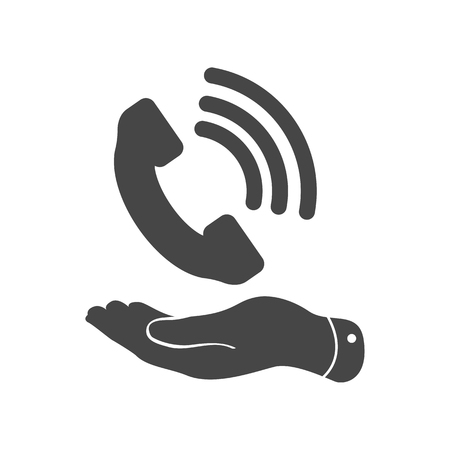 cell phone booth: flat hand showing black phone receiver icon on a white background Illustration