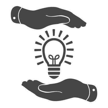 dos manos que protegen idea negro icono de la bombilla de la lámpara de luz sobre un fondo blanco - ilustración vectorial