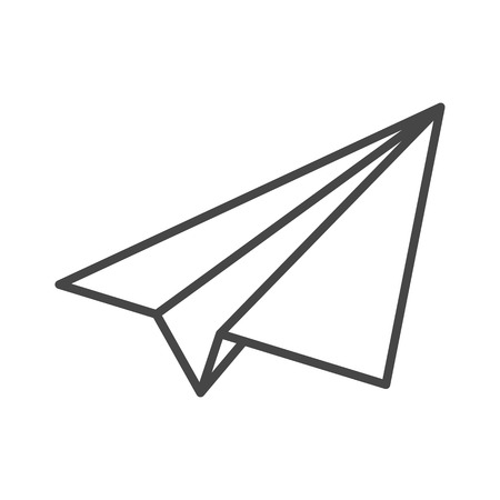 black linear paper plane icon Illustration
