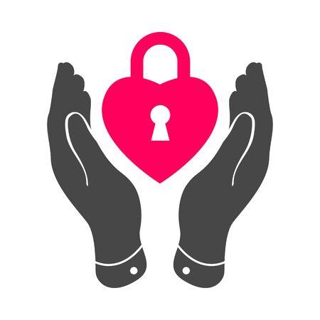 careful: heart lock shape icon in careful hands - vector illustration