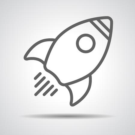 space rocket: Linear rocket icon - vector illustration