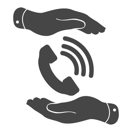 cell phone booth: two hands protecting black phone receiver icon on a white background - vector illustration Illustration