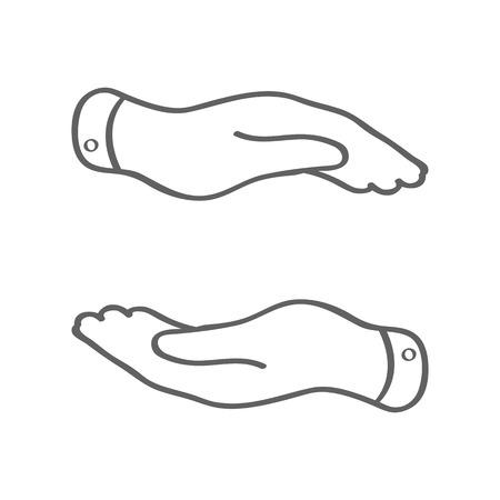 caring hands: lineaire zorgzame handen pictogram - het beschermen van vector illustratie Stock Illustratie