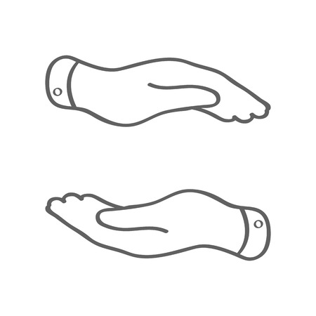 caring hands: linear caring hands icon - protecting vector illustration
