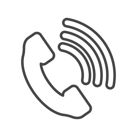 cell phone booth: Telephone receiver vector icon - thin line art design
