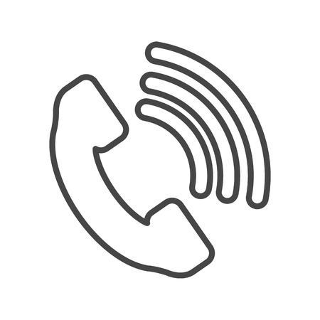 telephone receiver: Telephone receiver vector icon - thin line art design