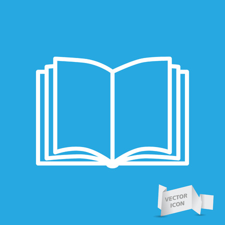 Open book vector icon on a blue background Illustration