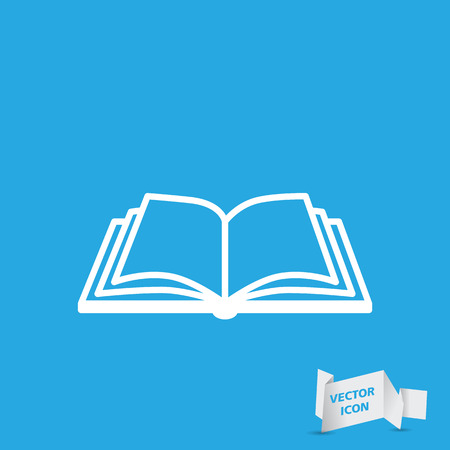 Open book vector icon on a blue background 일러스트