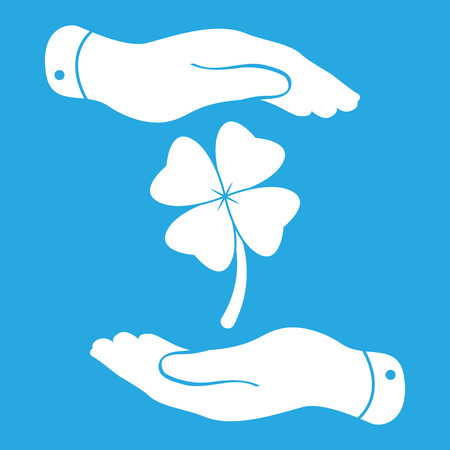 two hands protecting clover with four leaves sign icon. on a blue background. Saint Patrick symbol Vector