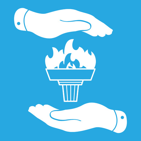blue flame: white torch icon with flame and flat hands on a blue background Illustration