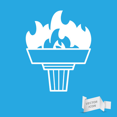 blue flame: white torch icon with flame on a blue background