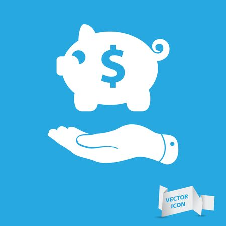 pleading: flat hand showing black piggy bank icon on a blue background Illustration