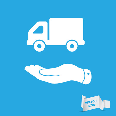 flat hand presenting delivery truck icon Vector