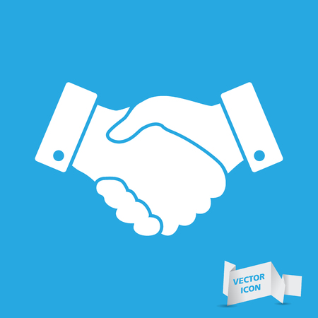 finance concept: blue handshake vector icon. design for business and finance concept Illustration