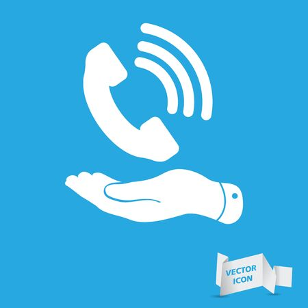 telephone booth: flat hand showing white phone receiver icon on a blue background