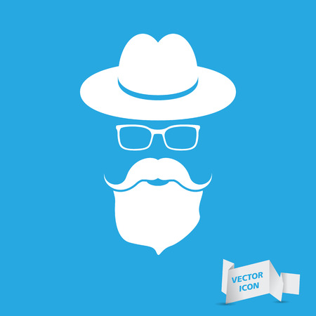 whie hat with mustache, beard and glasses isolated on a blue background Illustration