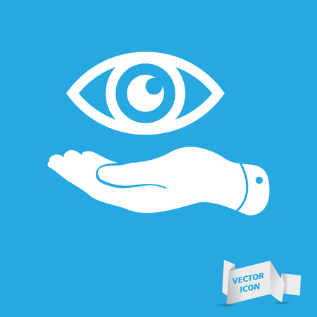 represents: flat hand represents the eye icon - vector illustration Illustration