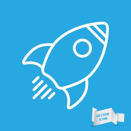 Linear rocket icon - vector illustration