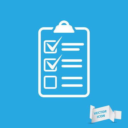 witte checklist pictogram op een blauwe achtergrond