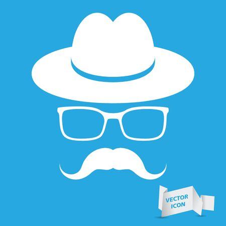 chapeau blanc: chapeau blanc avec la moustache et des lunettes isol� sur un fond bleu