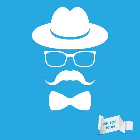 chapeau blanc: chapeau blanc avec la moustache, noeud papillon et lunettes isol� sur un fond bleu