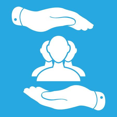 hand holding: two hands with group of businessman icon on a blue background - vector illustration