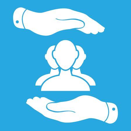 symbol hand: zwei H�nde mit Gruppe von Gesch�ftsmann Symbol auf blauem Hintergrund - Vektor-Illustration Illustration
