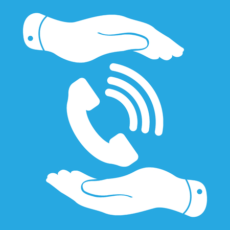 cell phone booth: two hands protecting white phone receiver icon on a blue background - vector illustration