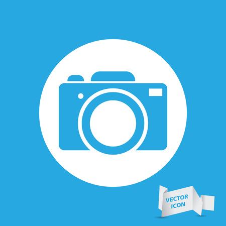 reflex camera: blue flat photo camera icon - vector illustration Illustration