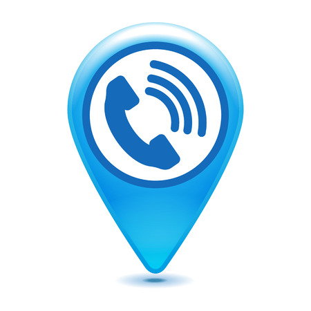 cell phone booth: Blue telephone receiver pointer icon - vector illustration