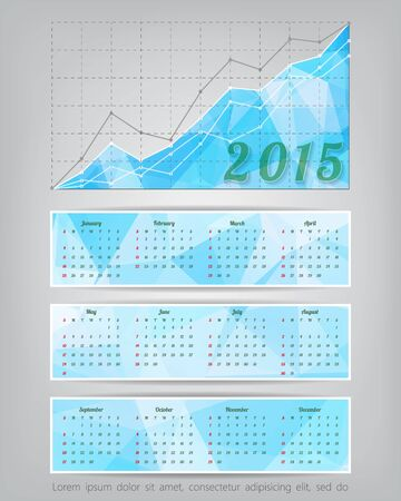 2015 calendar with business statistics chart showing different growing graphs Vector