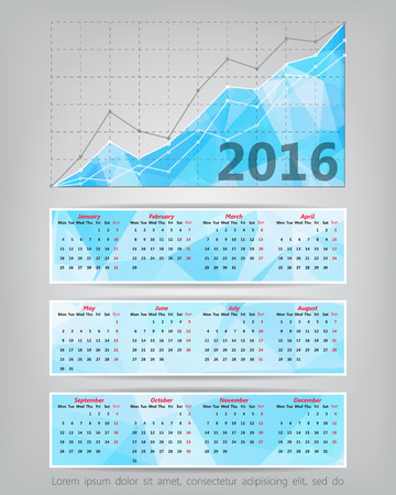 comparing: 2016 calendar with business statistics chart showing different growing graphs