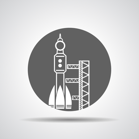 spaceport: black launch site withrocket,  spaceport icon, vector illustration
